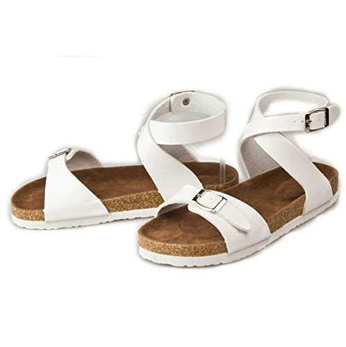 Damen Flache Sandalen mit Korkfußbett Sommer Sandaletten Bequeme Sommerschuhe Offene Sandalen Römersandalen Weiß