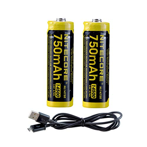 2X NITECORE NL1475R 750mAh 14500 Built-in Micro-USB Rechargeable Li-ion Battery with Lumen Tactical Charging Cable