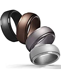 Silicone Wedding Ring for Men, 4 Packs & Singles Silicone Rubber Wedding Bands - Step Edge Sleek Design - Metallic, Black and Camo Colors-Size 9 10 11 12 13