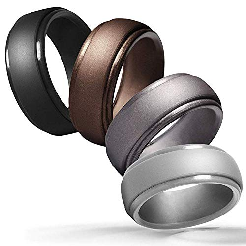 Cabepow Silicone Wedding Ring for Men, 4 Packs & Singles Silicone Rubber Wedding Bands - Step Edge Sleek Design - Metallic, Black and Camo Colors-Size 11