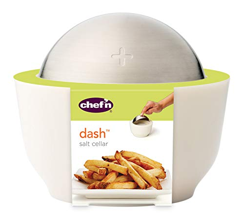 Chef'n Dash Salt Cellar with Flip Top Cover, Coconut (Salt Hours Cellar)