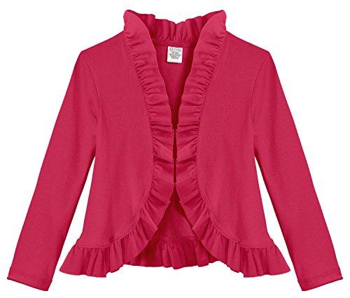 City Threads Girls Ruffle Cardigan Top Sweater Layering School Play Fashion Fun For Sensitive Skin SPD Sensory Friendly, Candy Apple Red, 8 (Cardigan Candy)