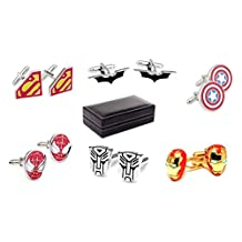 Super Hero Shirt Cufflinks,6 Pairs
