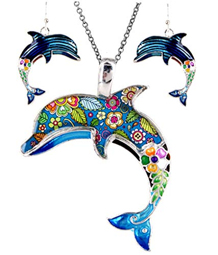 Dolphins Set Earrings - DianaL Boutique Silver Tone Dolphin Pendant Necklace and Earring Set with 24