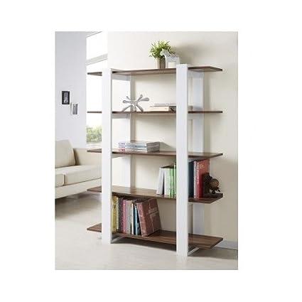Sleek Modern Contemporary 5 Tier Display Bookshelf White And Walnut