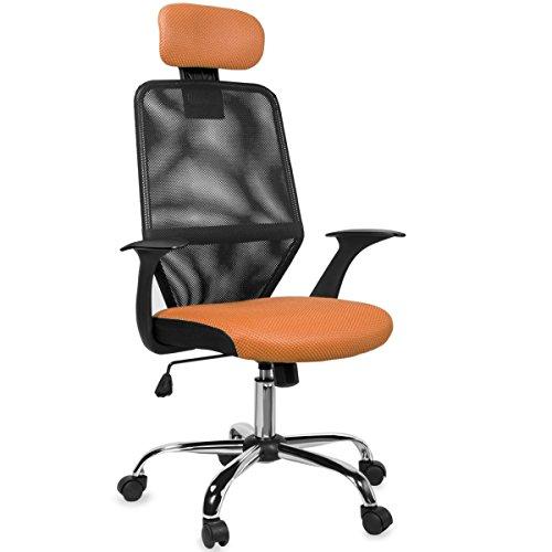 Barton Mesh Office Desk Chair w/ Headrest (Orange) by Barton