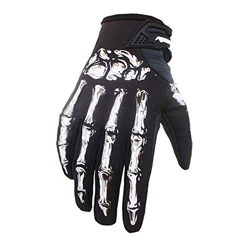 MAXING Winter&Autumn Skeleton Bones Gloves Windproof Waterproof Touch Screen Sports Glove Bikes Motorcycle (White, XL)
