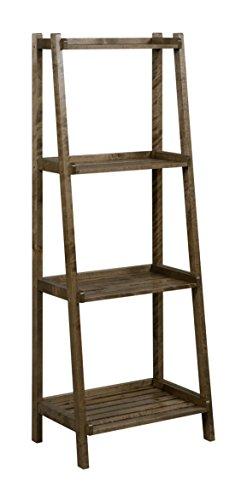 New Ridge Home Goods Dunnsville 4-Tier Ladder Shelf, Antique (New Chestnut Wood Finish)