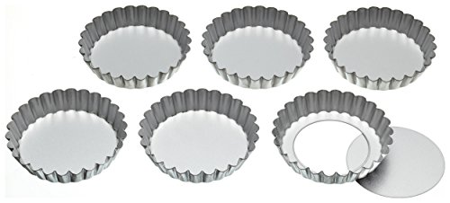 KitchenCraft Fluted Metal Tartlet Tins with Loose Bases, 10 cm (Set of 6)