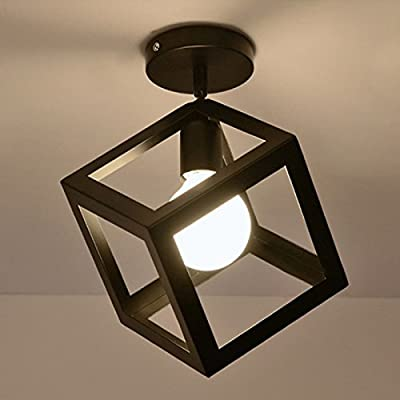 WinSoon Industrial Vintage Ceiling Light 1 Light Style Cube Metal Shade Art Painted Finished Fixtrue