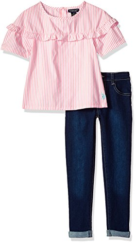 (U.S. Polo Assn. Girls' Toddler Fashion Set, Ruffle Chest Bell Sleeve Top Roll Cuff Pant Conch Shell,)