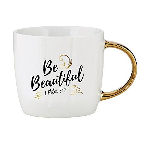 Be Beautiful Flourish 14 Ounce Ceramic Coffee Mug with Goldtone (Flourish Mug)