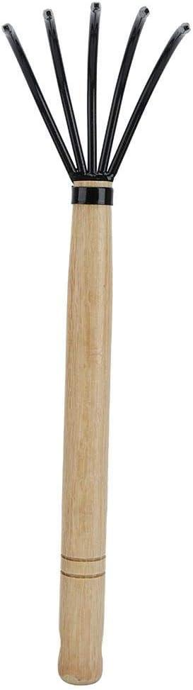 TOPINCN Garden Claw Rake Cultivator with Long Wood Handlefor Cleaning Fallen Leaves Loosen Soil Nursery Garden Tool