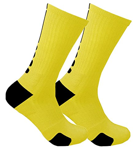 Sudor que absorbe la humedad Absorber compresión apoyo baloncesto calcetines (3 pares, Amarillo/