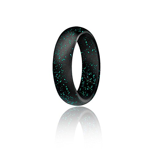 ROQ Silicone Wedding Ring for Women, Affordable Silicone Rubber Band, Black with Turquoise- Size 5 -