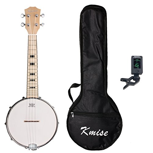 Kmise Banjo Ukulele 4 String Ukelele Uke Concert 23 Inch Size Maple with Bag Tuner by Kmise