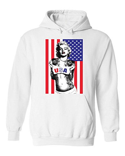 Famous Marilyn Monroe with US Flag for 4th of July Unisex Pullover Hoodie Hooded (White,XX-Large)