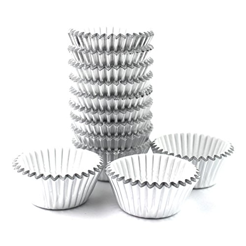 Xlloest Premium Mini Foil Baking Cups, Cupcake Liners Paper, Pack of 300 (Silver)