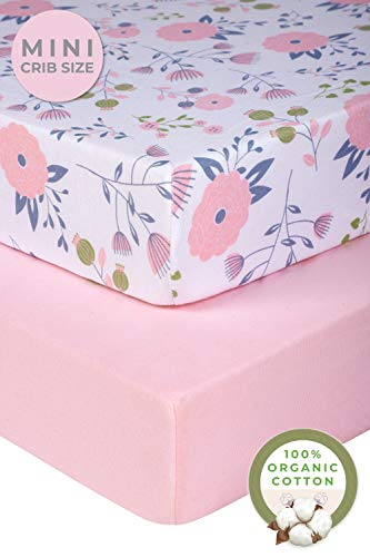 Pickle & Pumpkin Graco Pack n Play Mattress Sheet | 2 Pack Mini Crib Sheets in 100% Organic Jersey Cotton | Ideal as Pack and Play Mattress, Playpen or Playard Sheets | Pink & Floral Crib Sheet (Quilted Pack And Play Sheet)