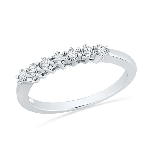 10KT White Gold Round Diamond Seven Stone Anniversary Band Ring (1/6 cttw)