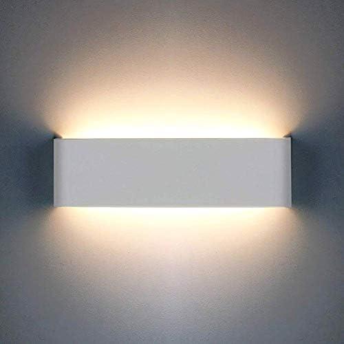OOWOLF LED Lampada da Parete Interno 12W, Applique da Parete Interno, Lampada da Parete Led, 3000K Luce Calda per Camera da Letto, Soggiorno, Scale, Corridoio