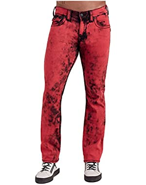 Men's Straight Leg Relaxed Fit Big T Washed Out Jeans w/ Flap in Vintage Red