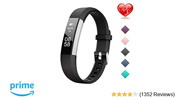 Lintelek Fitness Tracker, Slim Activity Tracker with Heart Rate Monitor,  IP67 Waterproof Step Counter, Calorie Counter, Pedometer for Kids Women and