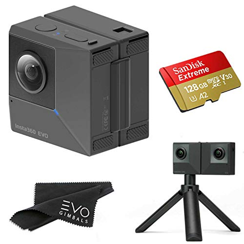 Insta360 EVO 3D 360 Hybrid VR Camera with 5.7K Video and 18MP Photos - Bundle Includes 128GB SanDisk Extreme microSDXC (2 Items) - Works with Oculus, Samsung Gear VR & Vive Focus