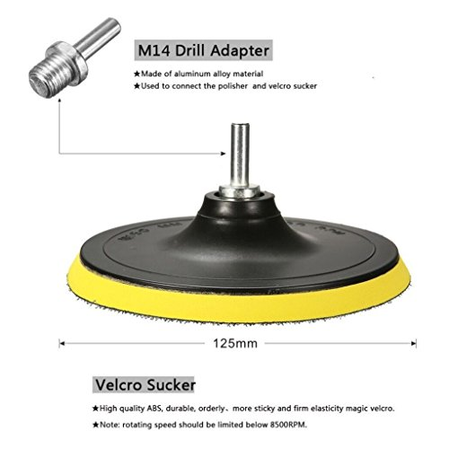 Kicpot Wool Felt Disc Polishing Pads and Backing Pad with M14 Drill Adapter Kit to Grind and Polish Glass Plastic Metal Marble by Kicpot (Image #6)