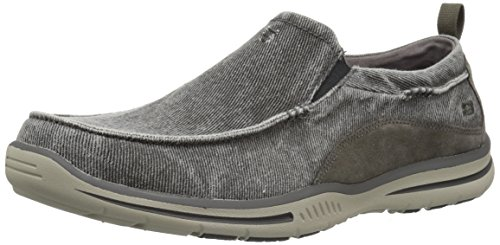 Skechers Men's Relaxed Fit Elected-Drigo Loafer, Charcoal Canvas, 11.5 3E-Extra (Distressed Canvas Slip Ons Shoe)