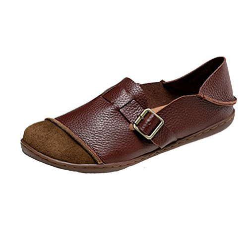 Mordenmiss Women's New Flat Round Toe Shoes Style 4 Brown