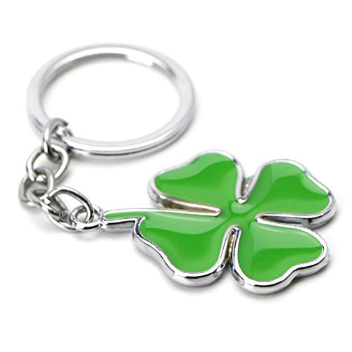 (iJDMTOY (1) Chrome Finish The Lucky Four Leaf Clover Cloverleaf Key Chain Ring Keychain)
