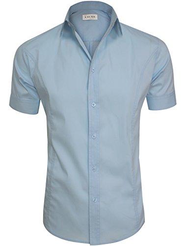TAM WARE Mens Casual Plain Short Sleeve Button Down Shirts