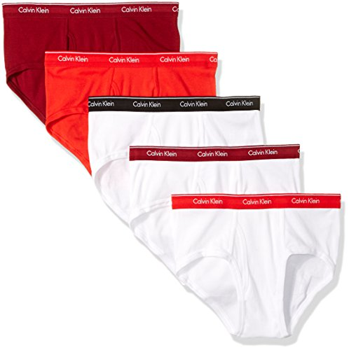 calvin-klein-mens-5-pack-cotton-classics-brief-white-risk-red-black-dylan-red-large