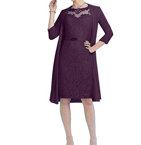 Abendkleider Traube Hell Damen Bolero Elegant Knielang Promkleider Blau Etuikleider Charmant Brautmutterkleider mit 5PXwpwq