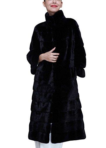 Larga Abrigo Mujer lnvierno de piel sintética de pelo Chaqueta Anorak Piel Imitación Manga Larga Negro