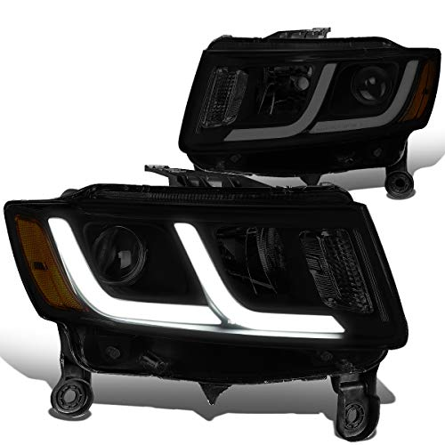 DNA Motoring Smoked amber HL-HPL-JGC14-BK-SM-AM Pair LED DRL Projector Headlight [for 14-16 Jeep Grand Cherokee]