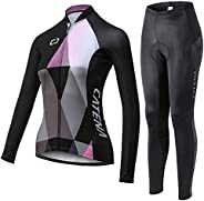 CATENA Women's Cycling Short Sleeve Breathable Jersey Set 3D Padded Long Pants Bike Shirt Bicycle Tights C