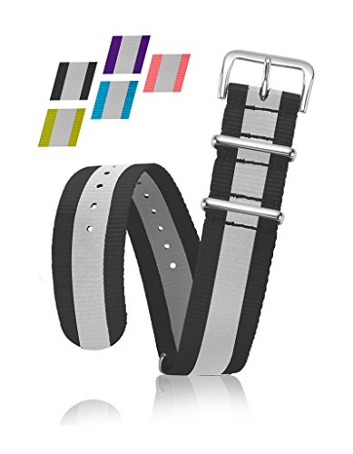 Reflective Bracelet Strap - Replacement Watchband or Wrist Band - Ballistic Nylon NATO Strap with Removable Stainless Steel Buckle - 18mm- Black (18 Mm Bracelet Band)
