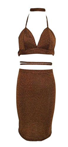 Gold Backless Cut Out Cromoncent Bodycon Womens Dress Club Crop Bandage Sexy vq4FX