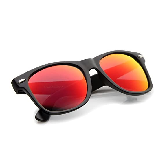 zeroUV - Retro 80's Classic Colored Mirror Lens Square Horn Rimmed Sunglasses for Men Women 4 Reinforced Metal Hinges Smooth Matte Finish Stunning Color Mirrored Lens