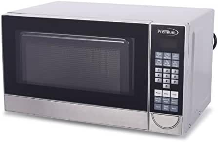 Premium PM70710 Microwave Oven, 700 Watt, 0.7 Cu Ft, Compact, Portable, Stainless Steel