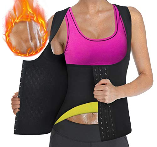 Sweat Waist Trainer Girdle Workout Sauna Tank Top Vest for Women Weight Loss Exercise, Double Tummy Slimmer (Black, S)