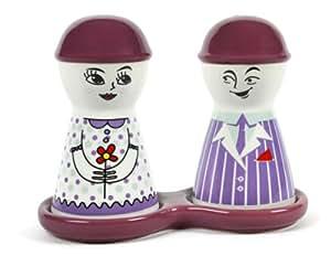 Purple Happy Couple Ceramic Salt and Pepper Shakers Set