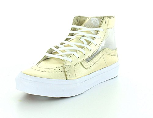 Vans Unisex Mesh Metallic SK8-Hi Slim Cutout Wheat Gold/True White Sneaker – 7.5