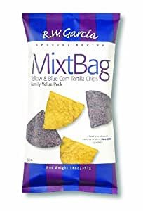 R. W. Garcia MixtBag Yellow & Blue Corn Tortilla Chips, 14-Ounce Bags (Pack of 12)