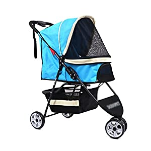 YD Pet Travel Carrier Pet Stroller 3-wheel Pet Trolley Multifunctional Folding Large Dog Pet Cart Scooter Outdoor Travel… Click on image for further info.