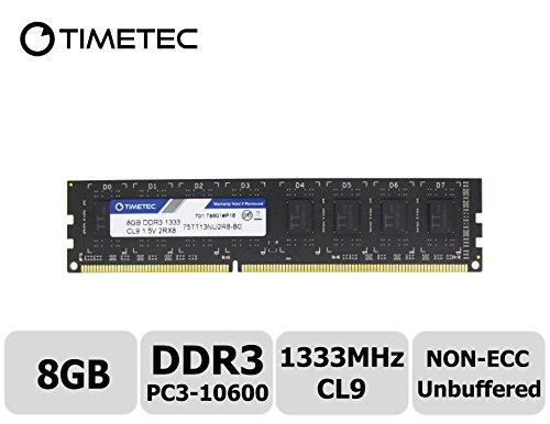 Timetec Hynix IC 8GB DDR3 1333MHz PC3-10600 Unbuffered Non-ECC 1.5V (8g Motherboard System)