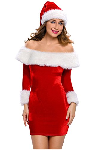 Women Sexy Miss Santa Clause Boat Neck Dress Cosplay Show Theme Party Costume with Hat (Miss Clause Outfit)