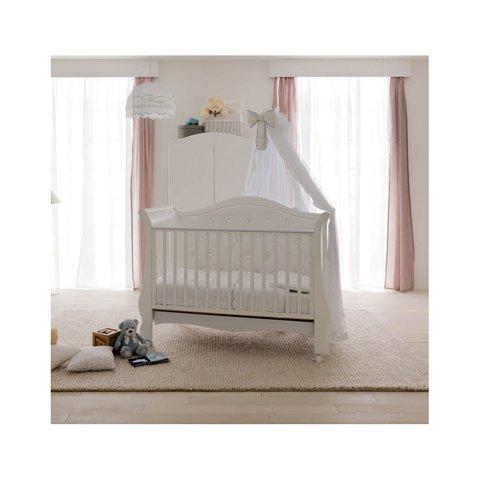 Babybett Kinderbett aus Holz Tulipano Doimo Cityline Bianco-Blu KEINE MATRATZE